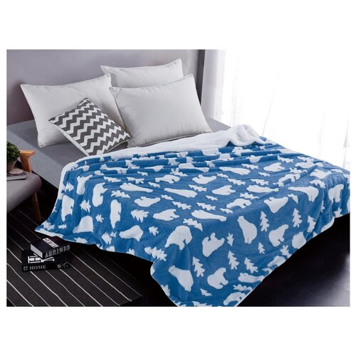 Плед Cleo Fluffy 150x200 см, белый/синий сорочка ночная cleo cleo mp002xw16zuw