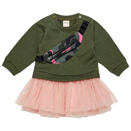 Платье ЁМАЁ размер 68, хаки/розовый