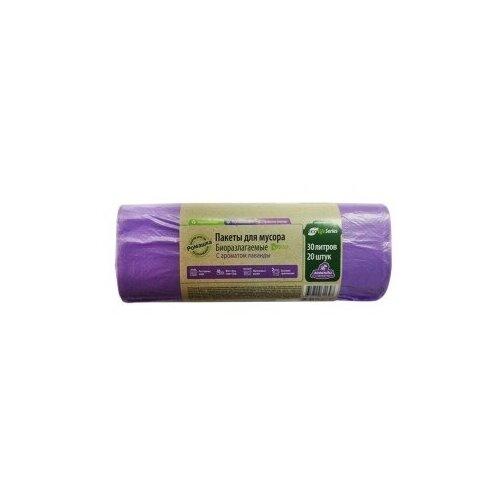 Мешки для мусора Ромашка биоразлагаемые ЭЛБ302045Ф 30 л (20 шт.) сиреневый
