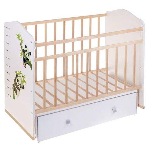 Кроватка Волжская деревообрабатывающая компания Морозко (с ящиком) (качалка), поперечный маятник бежевый/панды