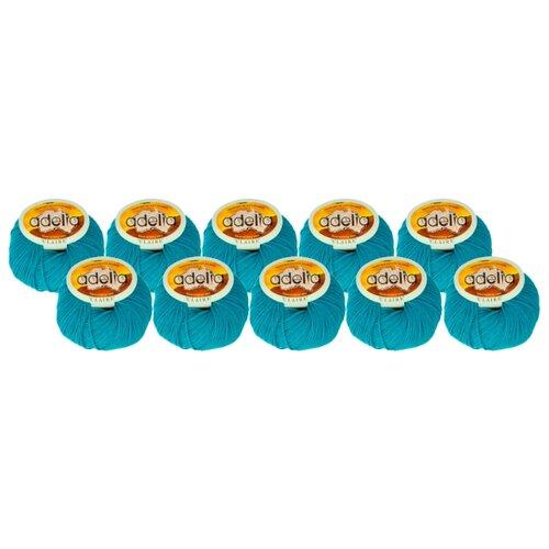 Купить Пряжа Adelia Claire, 50 % шерсть, 50 % акрил, 50 г, 138 м, 10 шт., №400 сине-зеленый