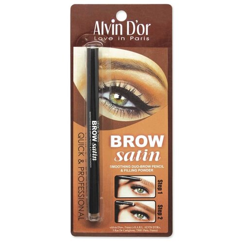 Фото - Alvin D'or карандаш+пудра Brow Satin, оттенок 01 medium brown alvin d or пудра скульптурирующая hd hollywod тон 02