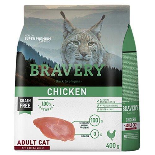 Корм для стерилизованных кошек Bravery беззерновой, с курицей 400 г