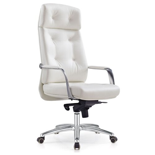 Компьютерное кресло Бюрократ _DAO для руководителя, обивка: натуральная кожа, цвет: white