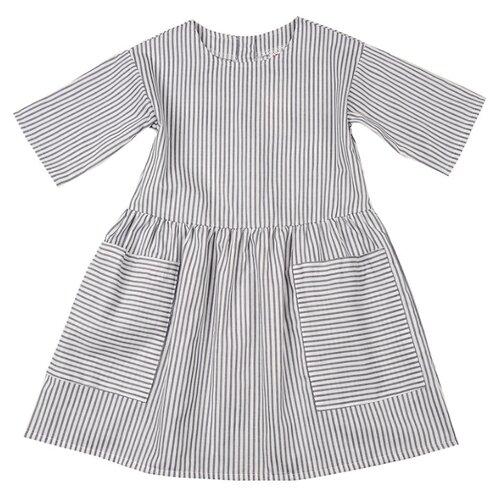 Платье Mini Maxi размер 104, белый/серый платье oodji ultra цвет красный белый 14001071 13 46148 4512s размер xs 42 170