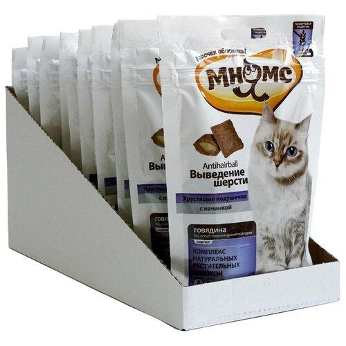 Лакомство для кошек Мнямс Хрустящие подушечки Выведение шерсти, 60 г х 10 уп. (шоу бокс)