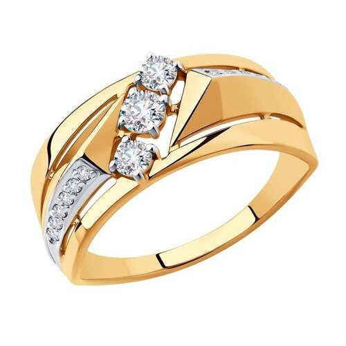 SOKOLOV Кольцо из золота с фианитами 018486, размер 17.5 фото