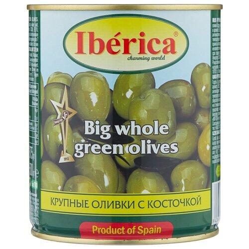Iberica Оливки крупные с косточкой в рассоле, жестяная банка 875 г iberica оливки с миндалём в рассоле стеклянная банка 370 г