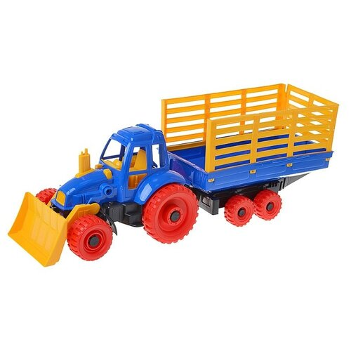 Трактор Нордпласт с грейдером и прицепом (053) 58 см трактор нордпласт богатырь с грейдером 68 см разноцветный 099