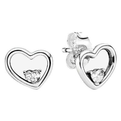 PANDORA Серьги Асимметричные сердца любви 297813CZ