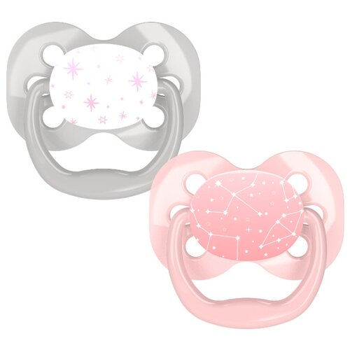Пустышка силиконовая анатомическая Dr. Brown's Advantage 0-6 м (2 шт) розовые звёзды пустышка силиконовая классическая dr brown s happypaci 0 6 м 1 шт розовый