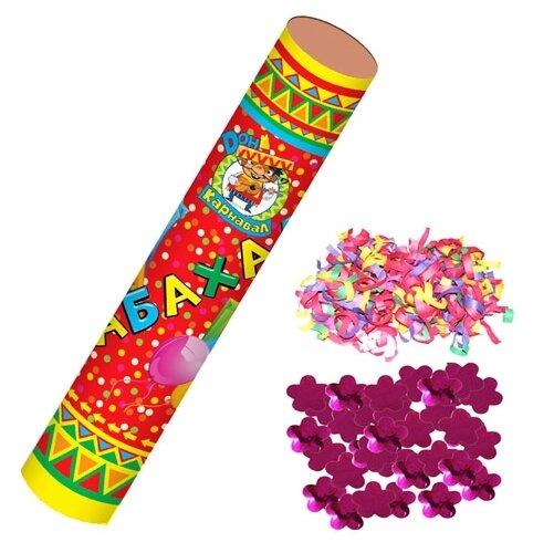 Пневмохлопушка MILAND Бабахалка. Цветы (фольгированные) и серпантин (бумажный) Х-1482