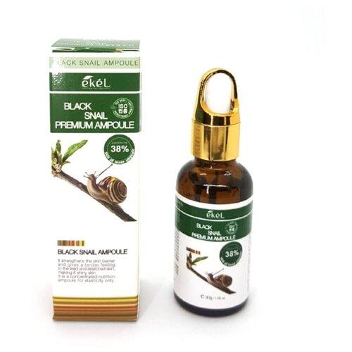 Купить Ekel Black Snail Premium Ampoule Ампульная сыворотка для лица с муцином улитки, 30 г