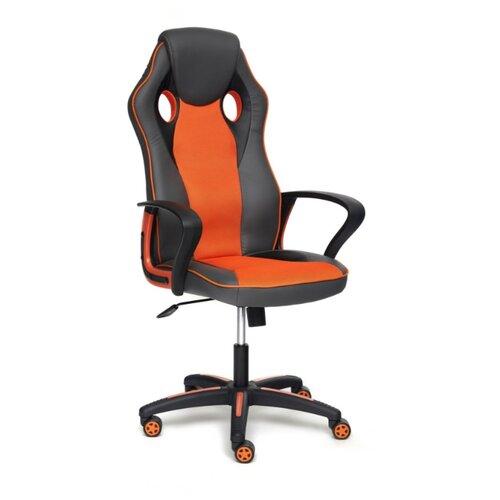 цена на Компьютерное кресло TetChair RACER new игровое, обивка: текстиль/искусственная кожа, цвет: металлик/оранжевый