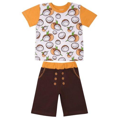 Фото - Комплект одежды ALENA размер 92-98, белый/коричневый комбинезон alena размер 92 98 18 красный белый клубнички