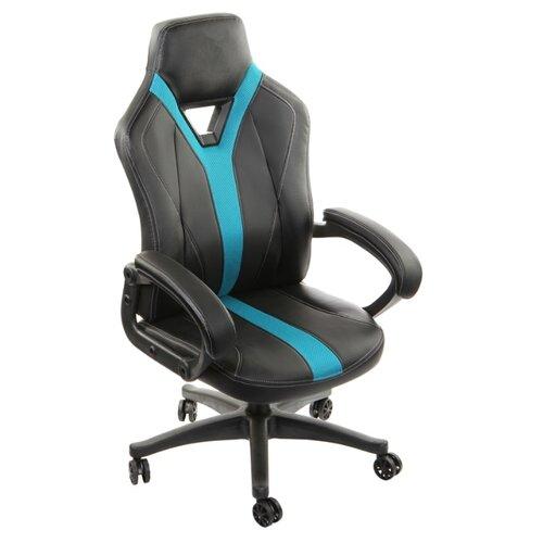 Компьютерное кресло ThunderX3 YC1 игровое, обивка: искусственная кожа, цвет: черно-голубой кресло компьютерное игровое thunderx3 tgc12 bg черный зеленый 4710700959572