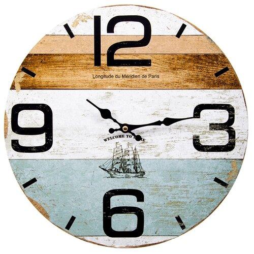 Часы настенные кварцевые Русские подарки 138643 коричневый/белый/голубой