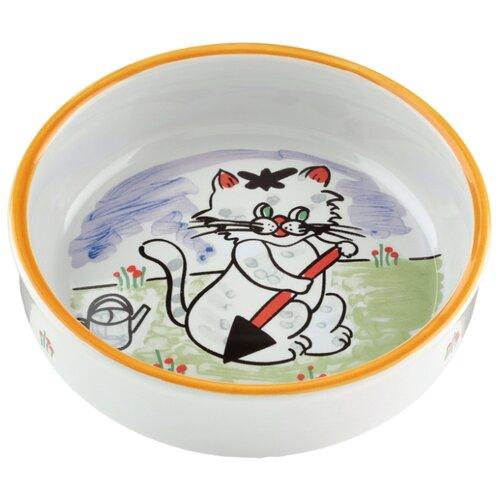 Миска Beeztees 13 см с изображением кошки 300 мл белый/котенок миска beeztees стальная с креплением для собак 300 мл