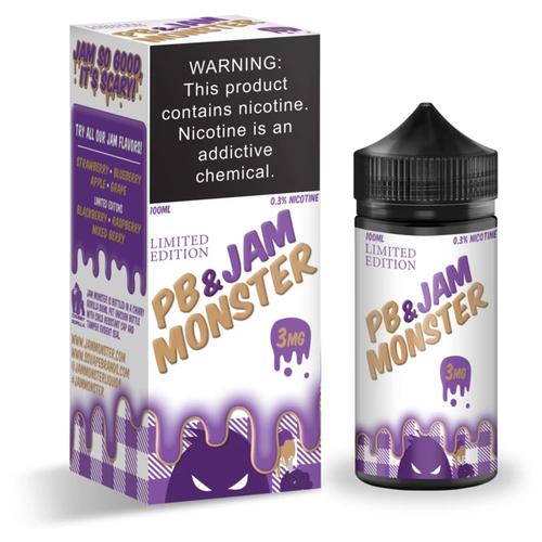 Жидкость для электронных испарителей Jam Monster PB & Jam Grape 3 мг/г 100 мл