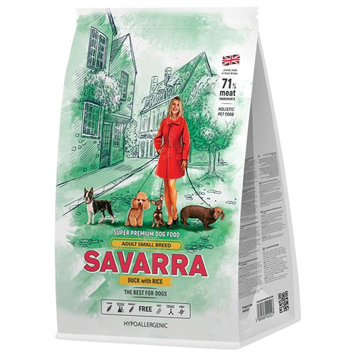 Сухой корм для собак SAVARRA утка с рисом 3 кг (для мелких пород) сухой корм для щенков zooring с пробиотиками утка с рисом 20 кг для мелких пород