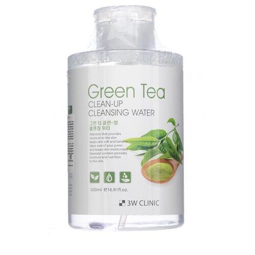 3W Clinic очищающая вода с экстрактом зеленого чая, 500 мл очищающая вода урьяж
