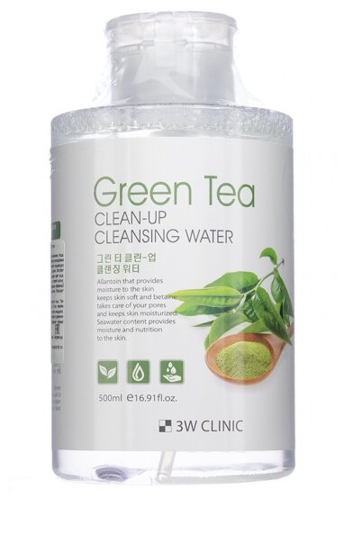 3W Clinic очищающая вода с экстрактом зеленого