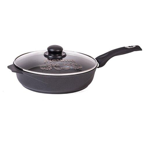 Сковорода Мечта Престиж С030506 28 см с крышкой, съемная ручка, черный сковорода блинная мечта престиж 22 см