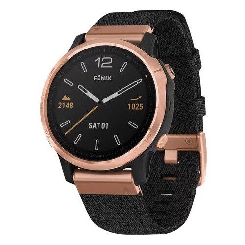 Умные часы Garmin Fenix 6S Sapphire с нейлоновым ремешком, розовое золото/черный умные часы garmin vivomove luxe с кожаным ремешком черный золотистый