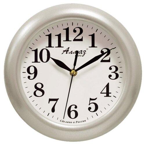 Часы настенные кварцевые Алмаз P04-P10 серебристый/белый часы настенные кварцевые алмаз p04 p10 бежевый белый