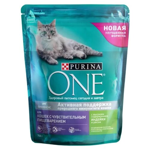 Корм для кошек Purina ONE при чувствительном пищеварении, с индейкой, с рисом 750 г purina one сухой корм purina one для взрослых кошек с чувствительным пищеварением с индейкой и рисом 750 г