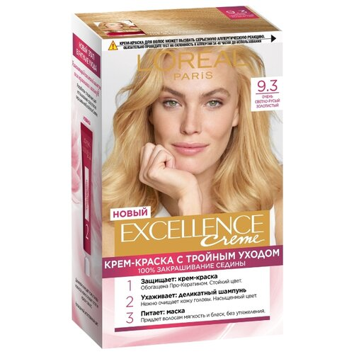 L'Oreal Paris Excellence стойкая крем-краска для волос, 9.3, Очень Светло-русый золотистый l oreal paris excellence стойкая крем краска для волос excellence оттенок тёмно русый бежевый