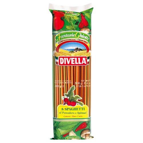 Divella Макароны Fantasie Ghiotte Spaghetti 8 из твердых сортов пшеницы с томатом и шпинатом, 500 г