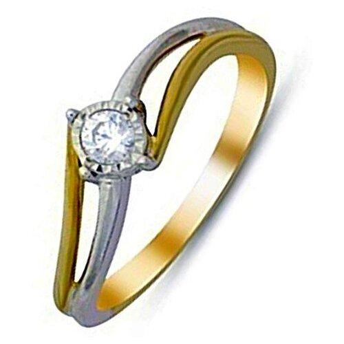 ЛУКАС Кольцо с 1 бриллиантом из красного золота R01-D-IGR-25453, размер 17 кольцо из золота r01 d r306443sap