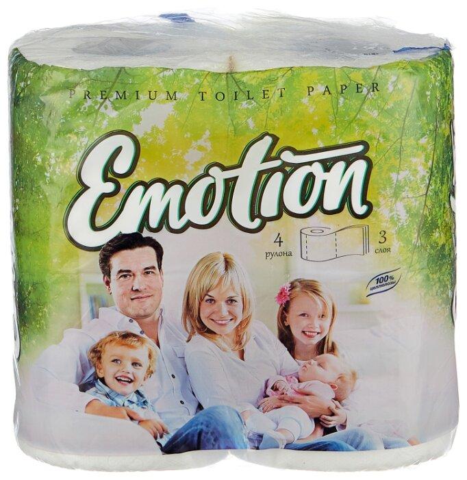 Туалетная бумага Мягкий знак Emotion белая трёхслойная 4 рул.