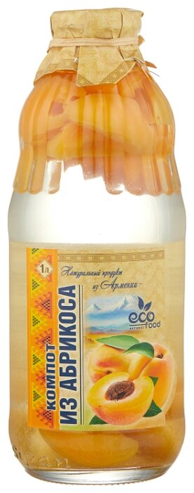 Компот Ecofood Armenia из абрикосов, стеклянная бутылка 1000 мл