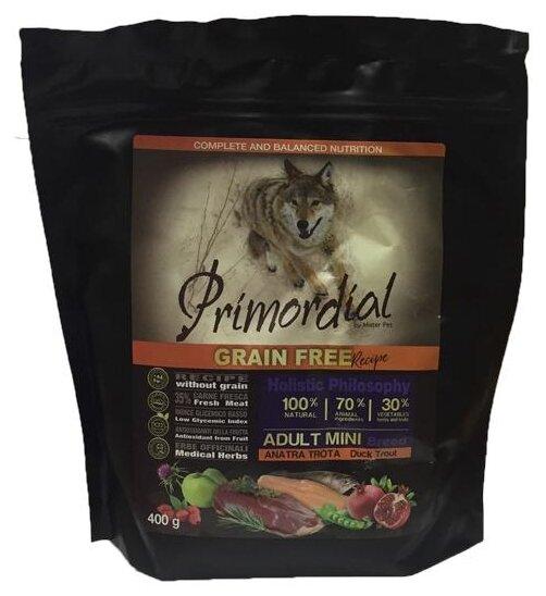 Корм для собак Primordial (0.4 кг) Adult Mini Breed Утка, форель