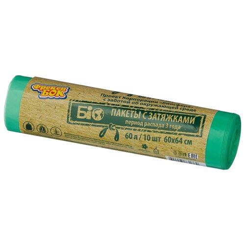 Мешки для мусора Фрекен БОК 16500550 60 л (10 шт.) зеленый мешки для мусора лайма комплект 5 упаковок по 30 шт 150 мешков 30 л черные в рулоне 30 шт пнд 8 мкм 50х60 см ±5