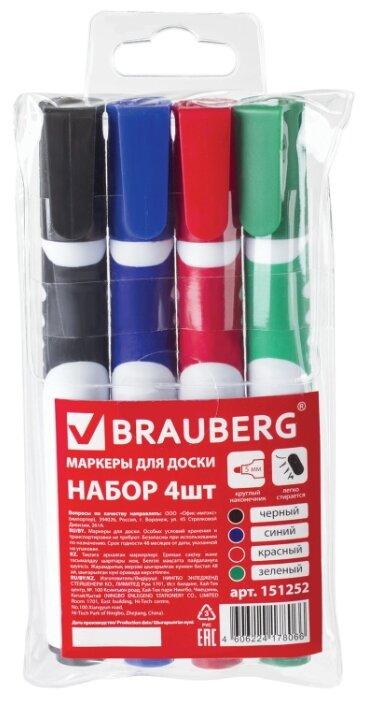 BRAUBERG Маркеры для доски, 4 шт (151252)