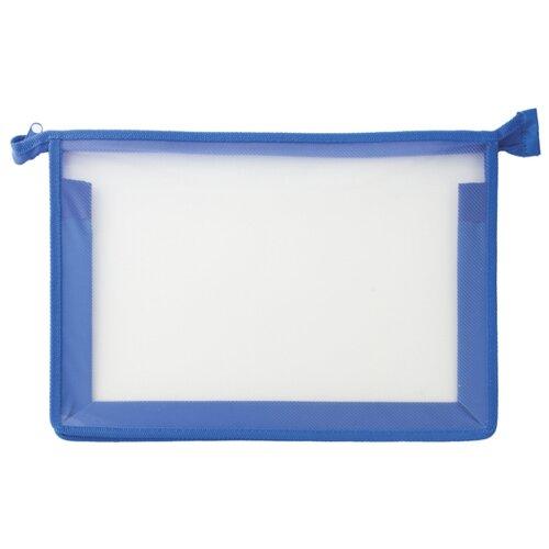 Купить Пифагор Пифагор Папка для тетрадей А4, молния сверху, прозрачная синий, Файлы и папки