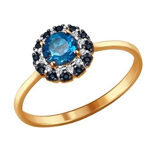 SOKOLOV Кольцо из золота с топазом, фианитами и чёрными фианитами 714078, размер 17.5