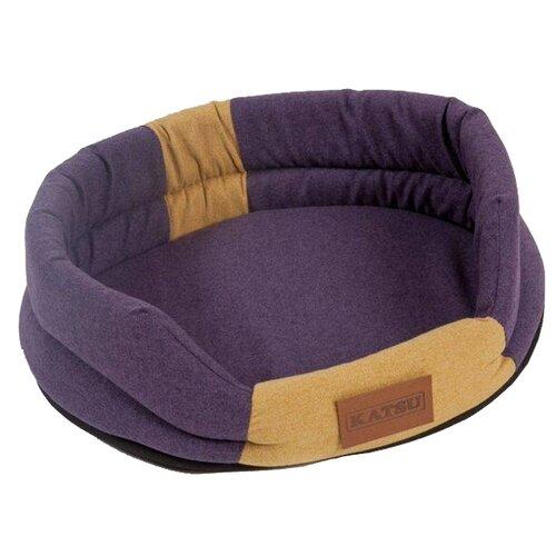 Лежак для собак и кошек Katsu Animal S 65х54 см фиолетовый/песочный