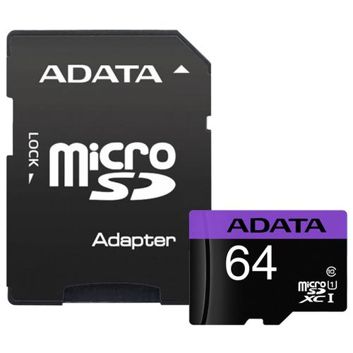 Фото - Карта памяти ADATA Premier microSDXC Class 10 UHS-I U1 64GB + SD adapter карта памяти mirex sdxc class 10 uhs i u1 64gb