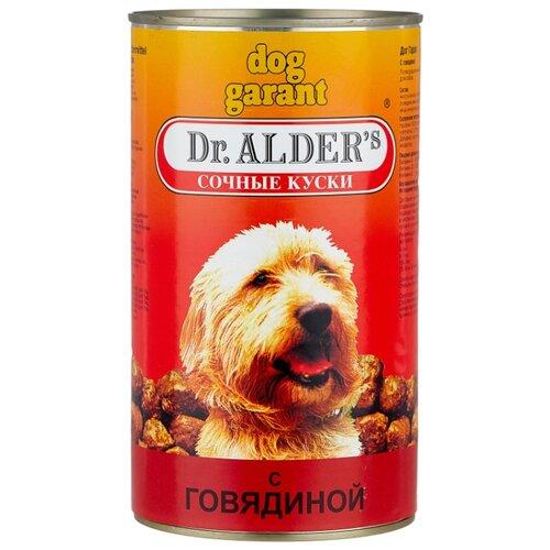 Корм для собак Dr. Alder`s (1.23 кг) 1 шт. ДОГ ГАРАНТ говядина кусочки в желе Для взрослых собак корм для собак dr alder s дог гарант сочные кусочки в соусе рубец сердце конс 1230г