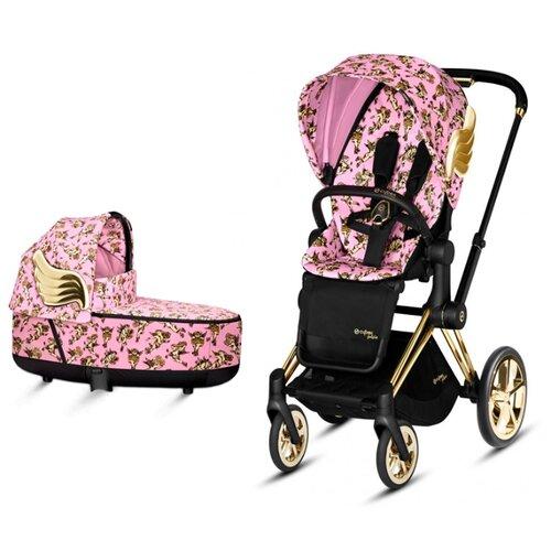 Купить Универсальная коляска Cybex Priam III Koi/Rebellious/Anna K/Birds of Paradise/JS (2 в 1) JS cherbubs pink/gold, цвет шасси: золотистый, Коляски
