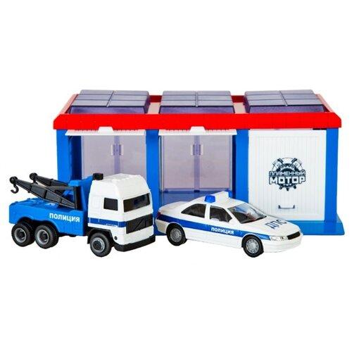 Купить Пламенный мотор Полиция ДПС 870273 голубой/красный/белый, Детские парковки и гаражи