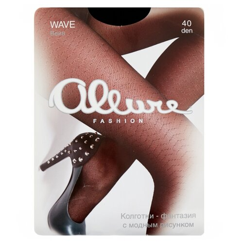 Колготки ALLURE Fashion Wave, 40 den, размер 3, nero (черный)