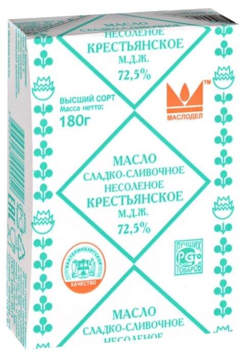 Маслодел Масло сладко-сливочное Крестьянское 72.5%, 180 г
