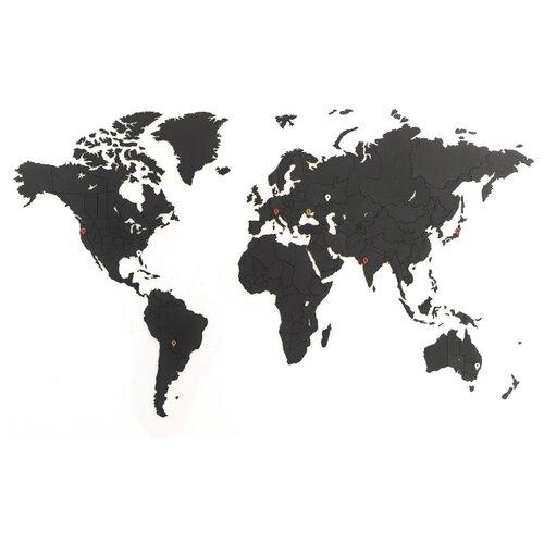 Купить Пазл Mi-Mi-Mi Design World map true puzzle small, 275 дет. черный, Пазлы