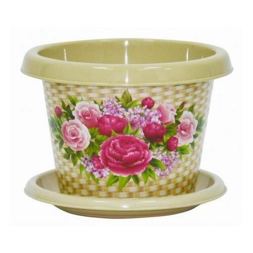 Кашпо Violet круглое 4л. с декором Букет с поддоном бежевый кашпо с поддоном деко орхидея d 160мм 2 4л