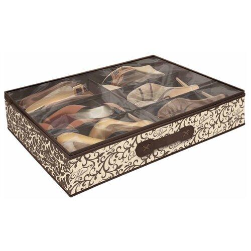 Valiant Кофр для хранения обуви Classic CL-S6 бежевый/коричневый кофр для хранения el casa плетение 35 30 20 см коричневый